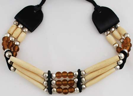 Brown Beaded Bone Choker