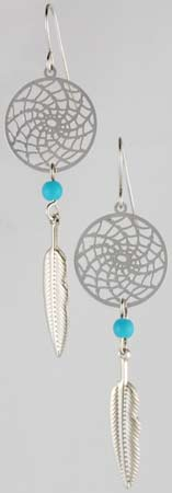 Dream Catcher Earring with Turquoise Beads