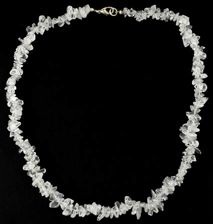 Clear Quartz Chip Clasped Necklace