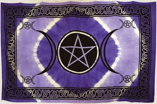 "Purple Triple Moon Pentagram 72"" x 108"" Tapestry"