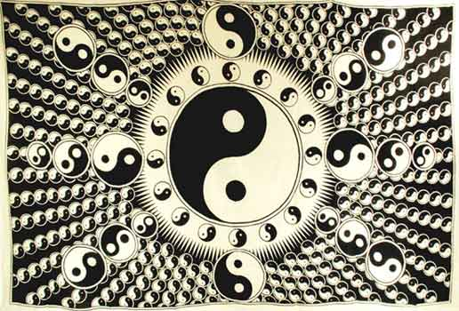"White and Black Yin Yang 72"" x 108"" Tapestry"